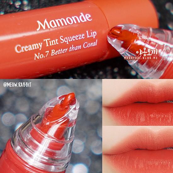 Swatch bảng màu son kem Mamonde Creamy Tint Squeeze Lip