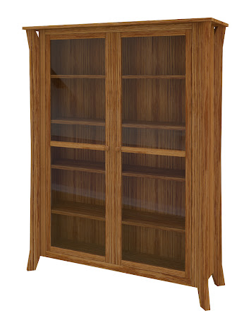 Kyoto Glass Door Bookshelf in Seely Oak