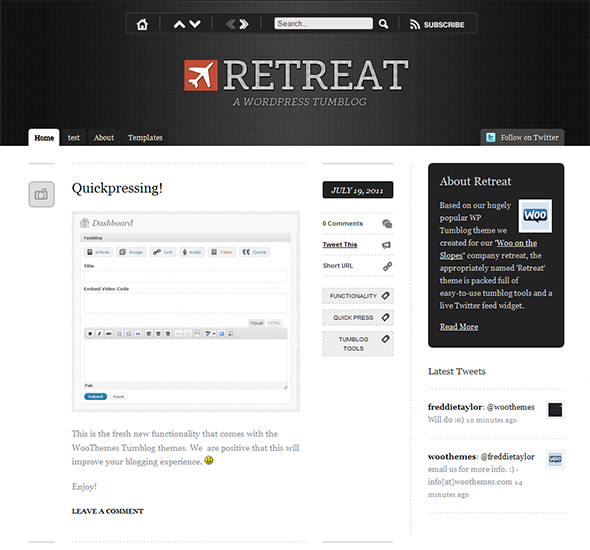 Retreat WordPress Theme for Effortless Microblogging