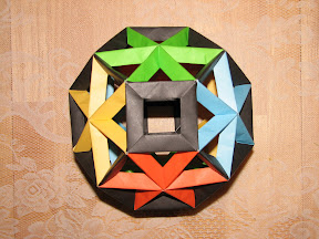 """An 84-unit assembly of Open Frame II Units from Tomoko Fuse's """"Multidimensional Transformations: Unit Origami""""."""