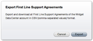 Export First Line Support Agreements