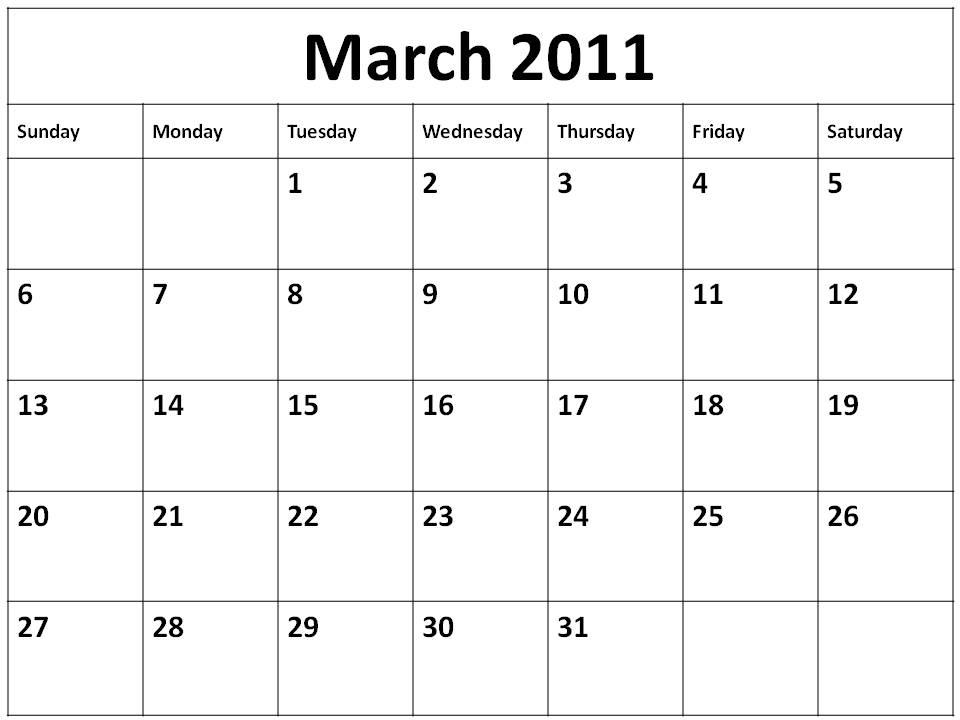 blank march calendar 2010. hair 2010 Blank Calendar 2011