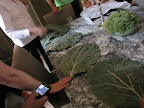 We were captivated by a set of large faux cabbage leaves used as placemats