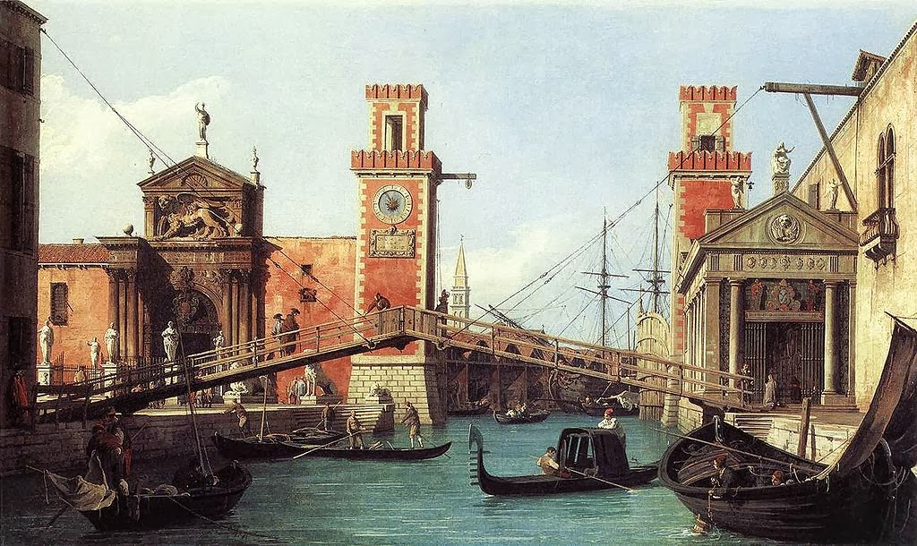 Canaletto - View of the Entrance to the Venetian Arsenal,1732