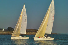 J/80 one-design sailboats- sailing off La Trinite sur Mer, France