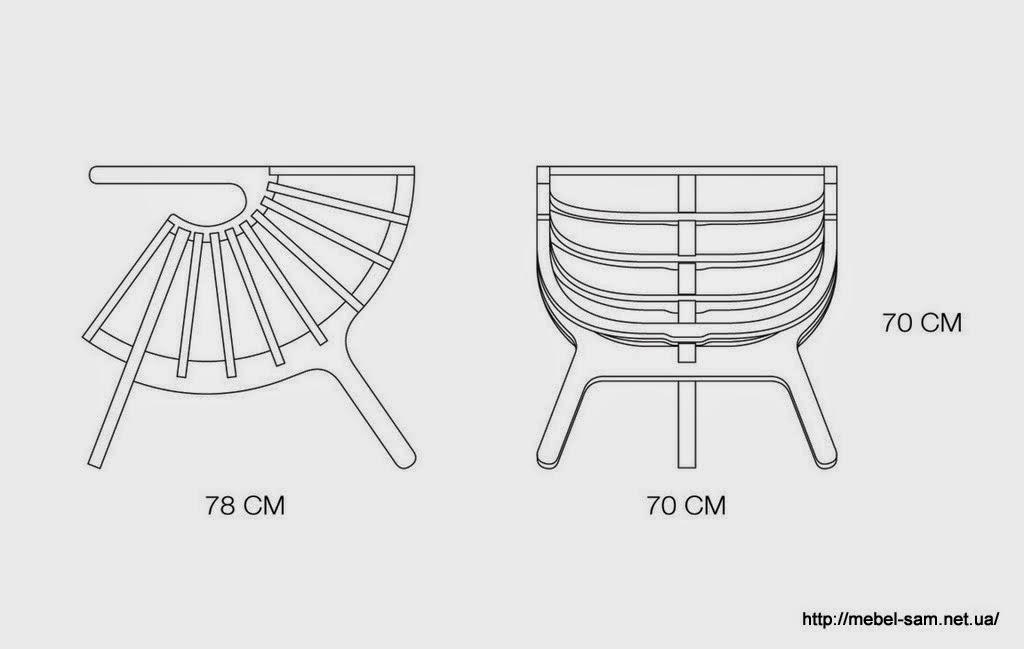 Габаритные размеры фанерного кресла