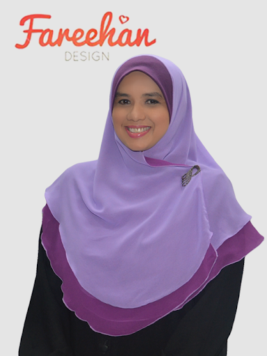 tudung shawl halfmoon double layer plain light purple dark purple fareehan