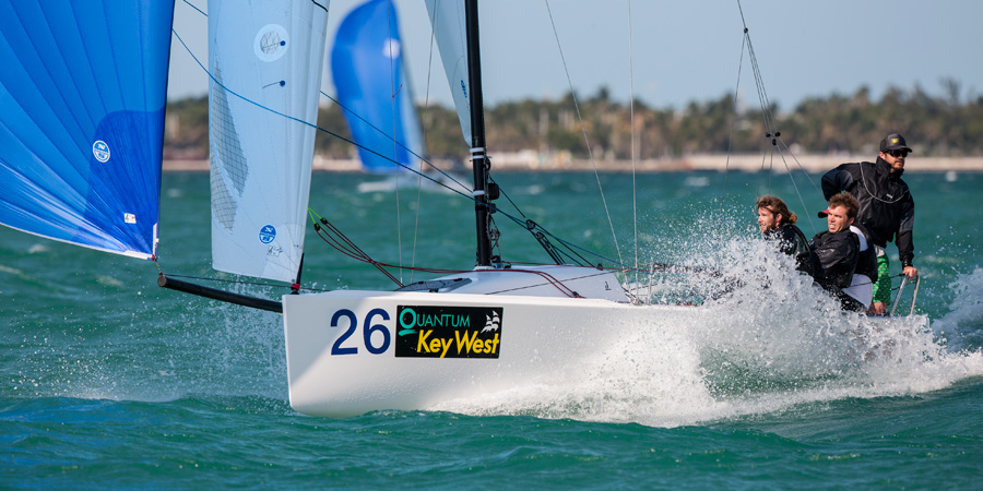 J/70 one-design sailboat- sailing fast off Key West