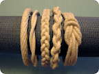 Twist, braid or knot rope in the design you prefer. Loop your design to make sure the inside diameter measures about 2 1/2 inches (small), 2 5/8 inches (medium), or 2 3/4 inches (large).