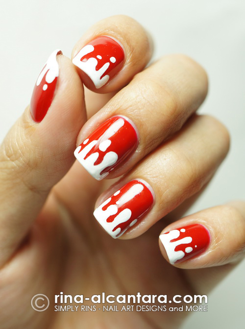 Blood Spill Halloween Nail Art Design