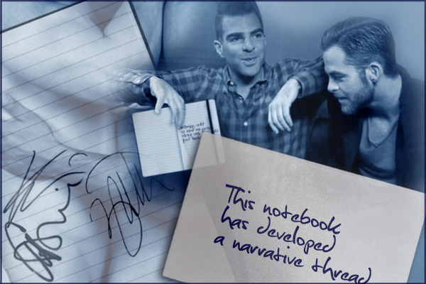 chapter banner with Chris and Zach, the notebook, and the card