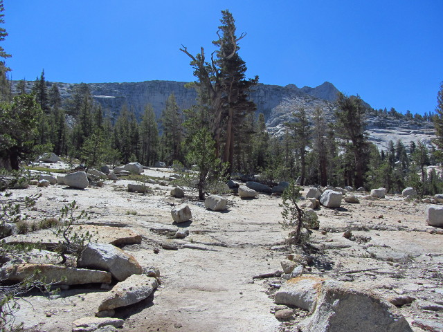 trail to the upper Cathedral Lakes