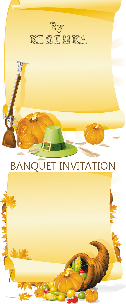 Stock: BLANK THANKSGIVING BANQUET INVITATION