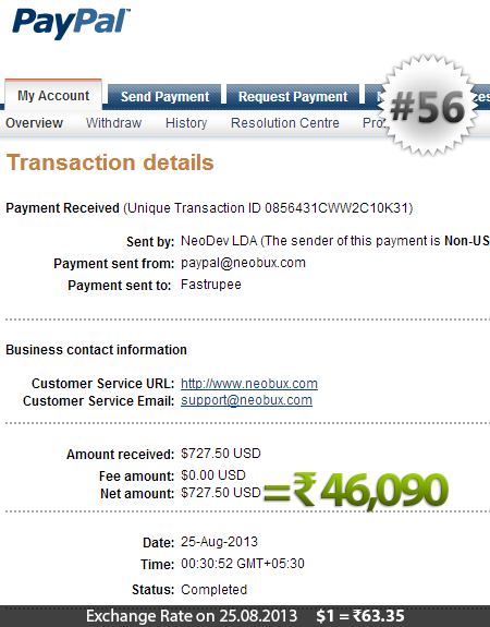 Neobux Payment Proof 56
