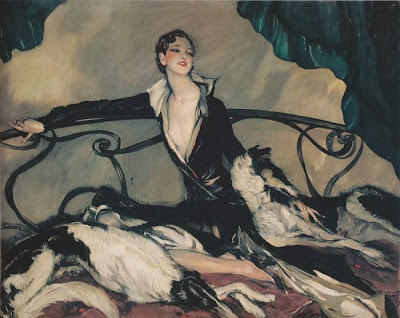 Jean-Gabriel Domergue - Woman with Greyhounds
