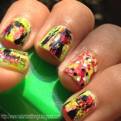 Nailart And Things Holi Nail Art Neon Grunge Nail Art