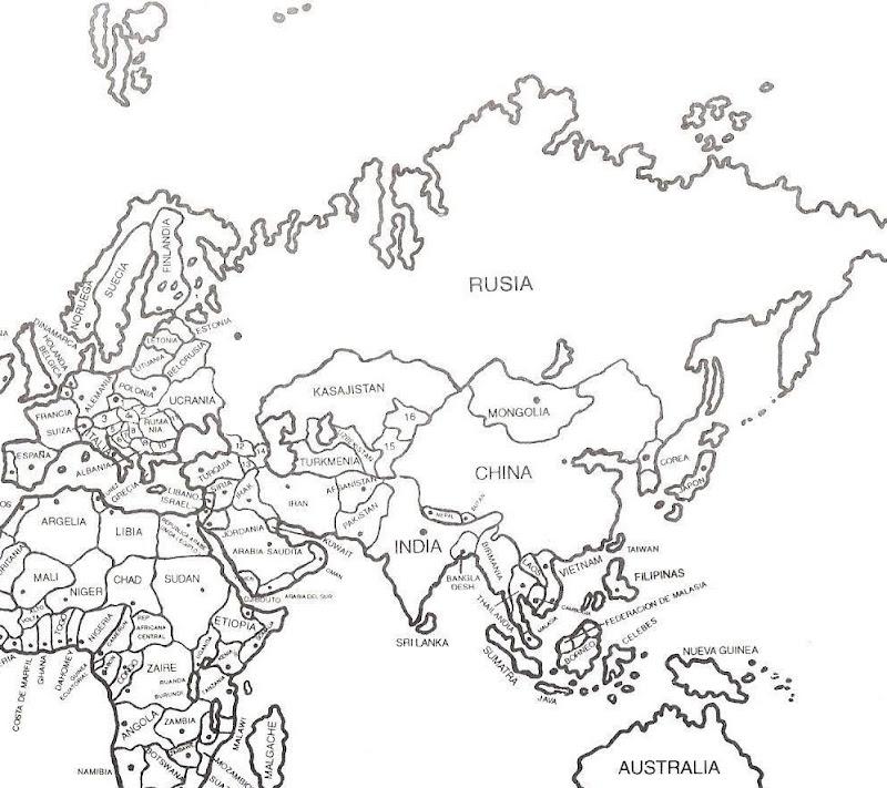 Pinto Dibujos: Mapa de Medio Oriente con nombres para colorear