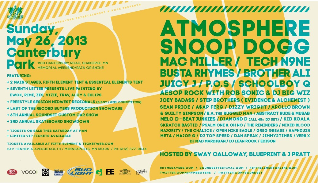 Soundset 2013 Lineup Announced! | Rhymesayers