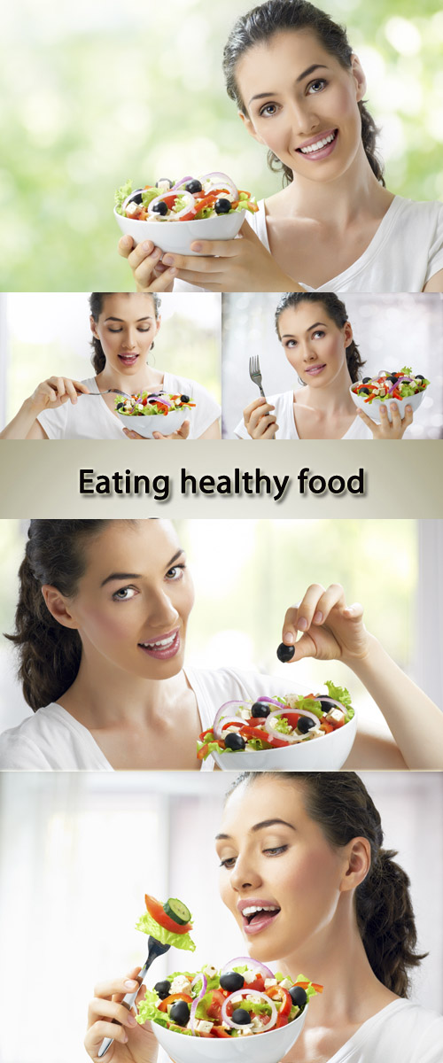 Stock Photo: Girl eating healthy food