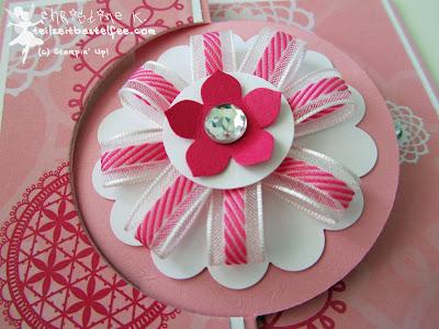 stampin up, ribbon flower, bänder blume, petite petals, dsp flirtatious, dp retro-romantik, birthday, geburtstag