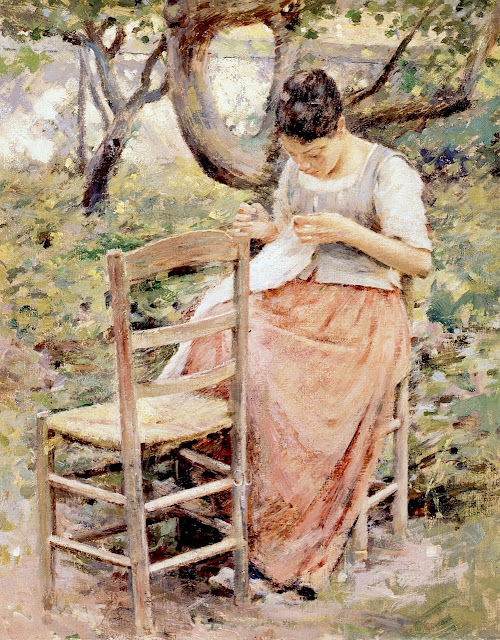 Theodore Robinson - Girl Sewing