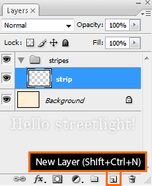 Create a new layer named Strip inside a Stripes group.