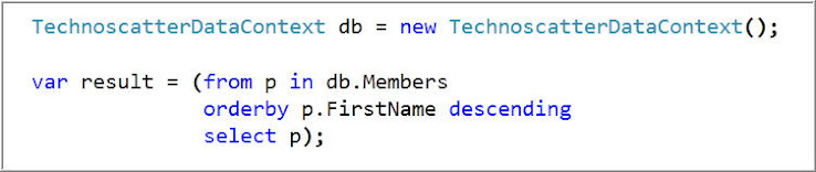 Get Member's Details on basis of First Name in Descending Order