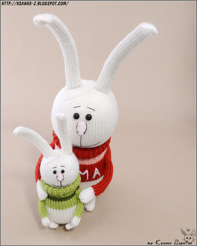 Амигуруми, вязаные игрушки, вязаные зайцы, семья зайцев
