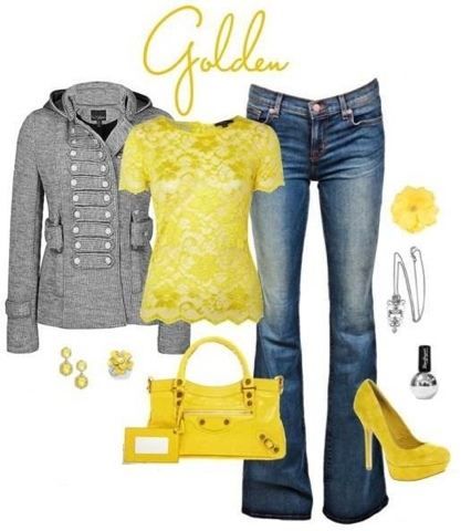 Fashion Yellow u0026 grey outfits