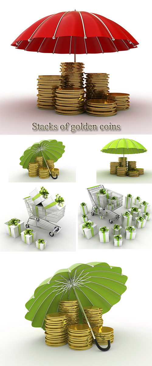 Stock Photo: Stacks of golden coins