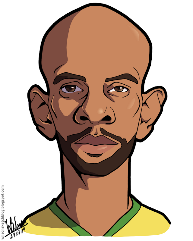 Cartoon caricature of Maicon.