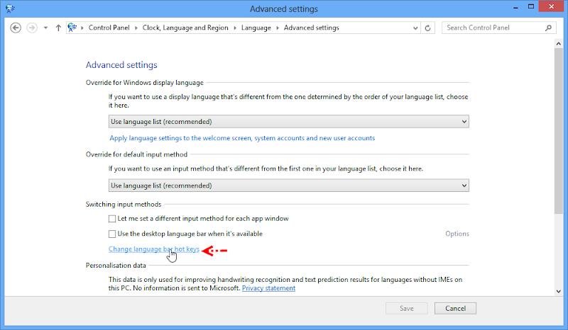 กำหนดคีย์สลับภาษาใน Windows 8 W8kb03