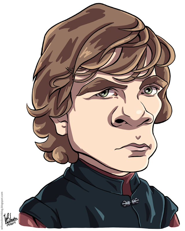 Cartoon caricature of Tyrion Lannister from Game of Thrones.