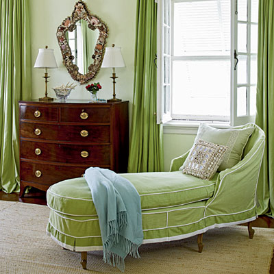 Nice Meg Braff Chose A Pretty Green Slipcover For This Chaise Lounge