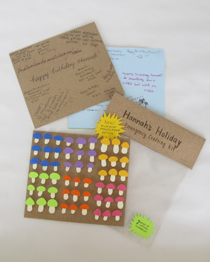 Tracy made an interactive card for Hannah, with little stickers to decorate...