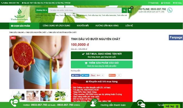 Chia sẻ template Tinh dầu online v4.0 - Template bán hàng đẹp
