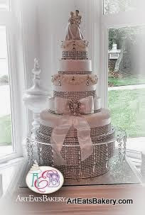 5 Tier Cinderella Princess And Prince Charming Custom Wedding Cake With Rhinestones Bow Brooch Crystal Stand