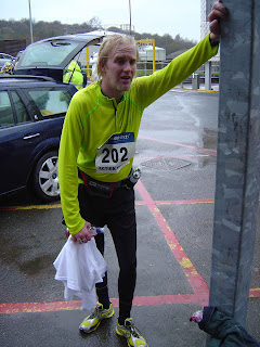 After the race, wet and knackered!