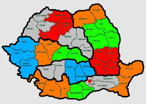 Harta României desenată de UDMR. Maghiarii propun împărţirea ţării în cinci marcoregiuni şi 16 regiuni de dezvoltare