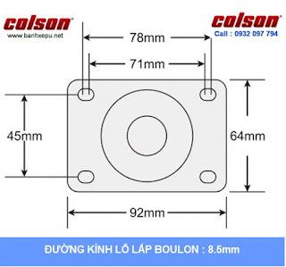 Bảng vẽ kích thước tấm lắp bánh xe đẩy inox 304 vật liệu bánh xe Nylon: