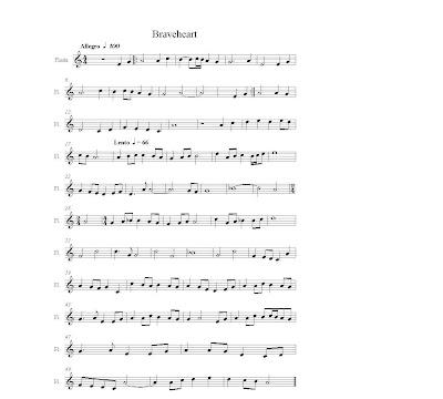 Braveheart de James Horner Partitura fácil para Flauta. BSO