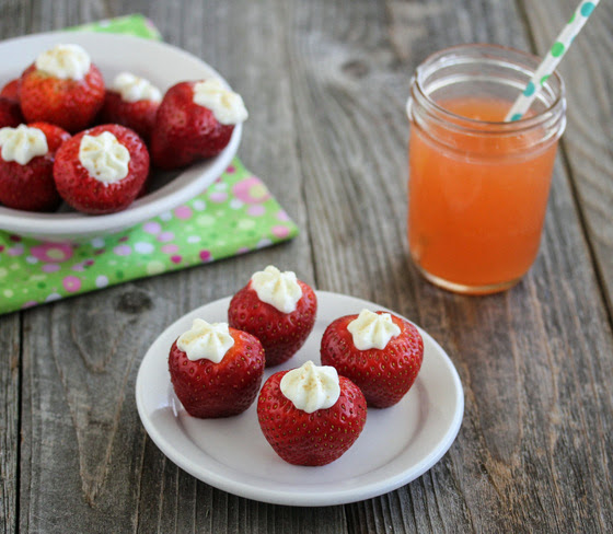 photo of Stuffed Strawberry Cheesecake Bites on a plate