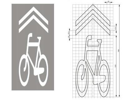 """Znak P-27 """"kierunek i tor ruchu roweru"""" - tak zwany """"sierżant rowerowy"""" Znak P-27 """"kierunek i tor ruchu roweru"""" można stosować na jezdni, z wyjątkiem:  – pasa ruchu dla rowerów, – śluzy dla rowerów, – przejazdu dla rowerzystów. Znak P-27 umieszcza się na wylocie ze skrzyżowania i powtarza nie rzadziej niż co 50 m."""""""