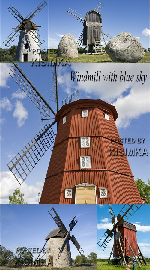 Stock Photo: Windmill with blue sky