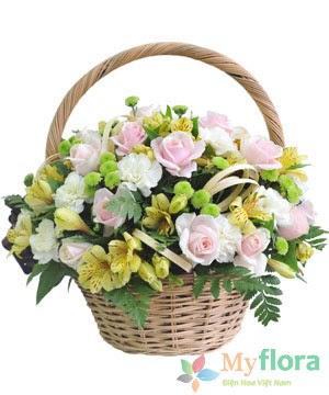 Giỏ hoa tươi Hạ vàng- Hoa tươi MyFlora