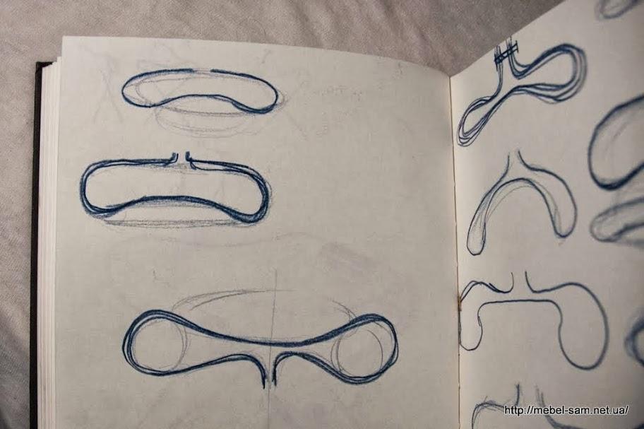 Наброски вариантов деталей кресла