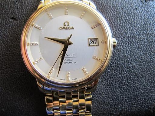bán đồng hồ omega deville Coaxial – size 36,5 – dây vàng 18k – hạt xoàn – automatic