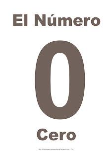 Lámina para imprimir el número cero en color marrón