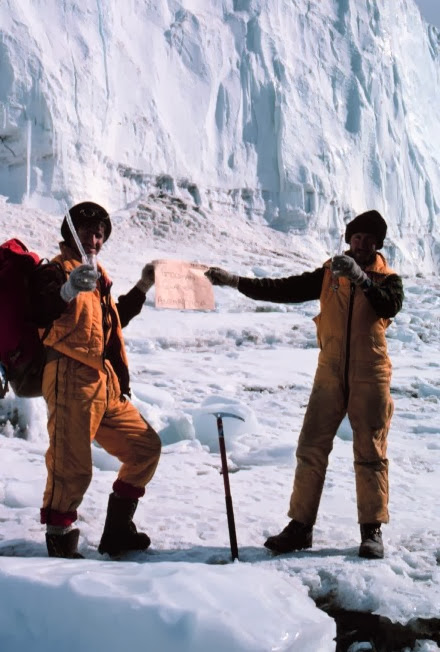 Warwick Vincent and John Priscu at the Goldman Glacier, 1984-1985 season.