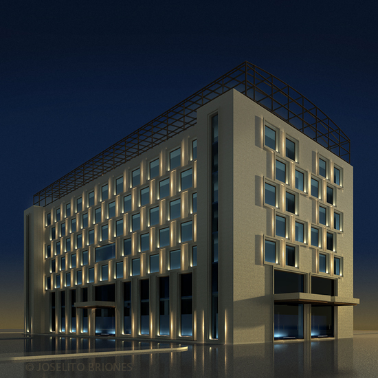 revit rendering study of a boutique hotel